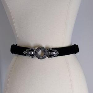 Chico's black velvet belt/rhinestone buckle-sz SM